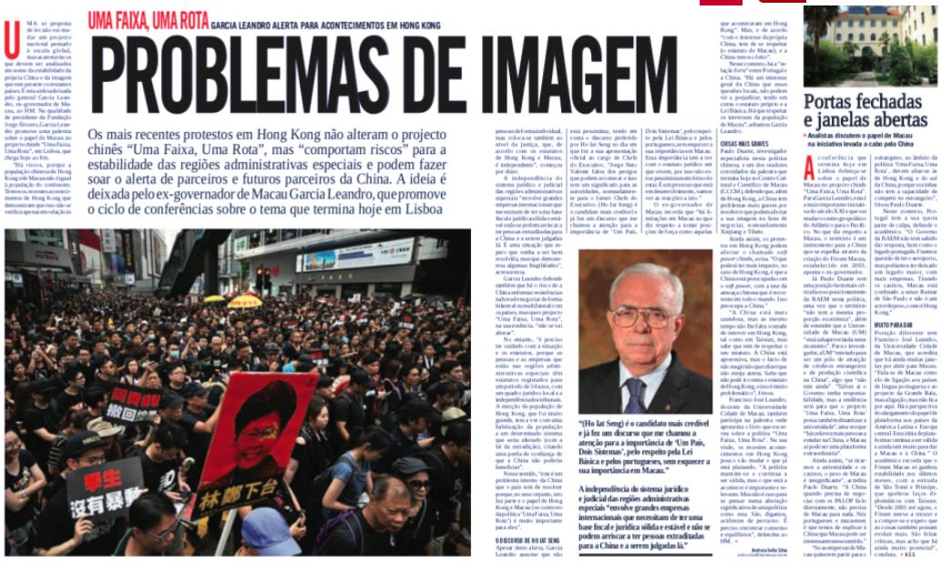 """Jornal """"Hoje Macau"""" reporta a participação do Professor Paulo Duarte no Ciclo de Conferências sobre a China"""