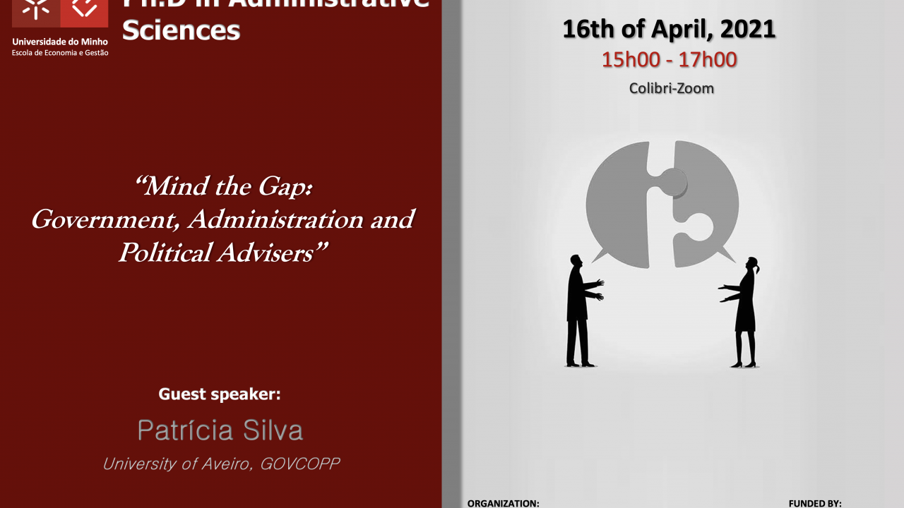 """Seminário Temático """"Mind the Gap: Government, Administration and Political Advisers"""""""