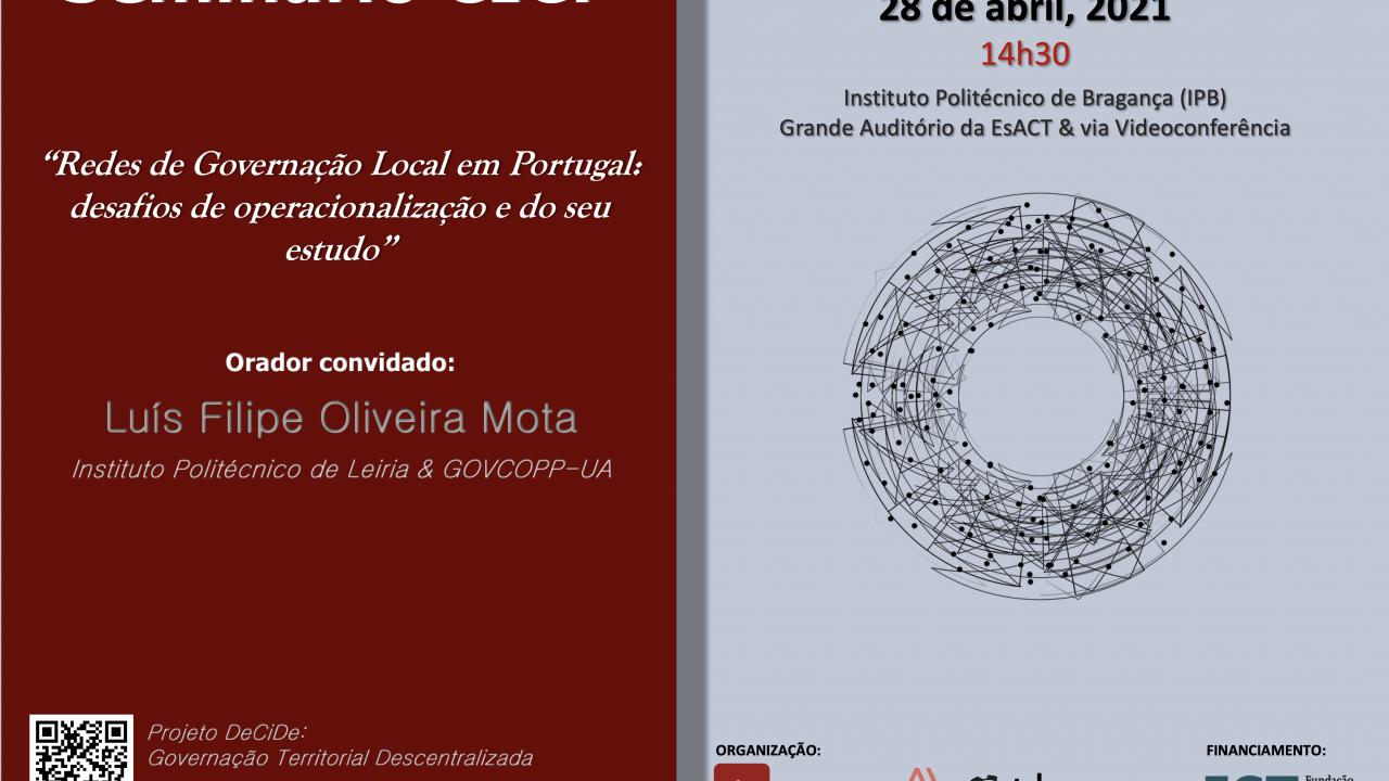 """Seminário """"Redes de Governação Local em Portugal: desafios de operacionalização e do seu estudo"""""""